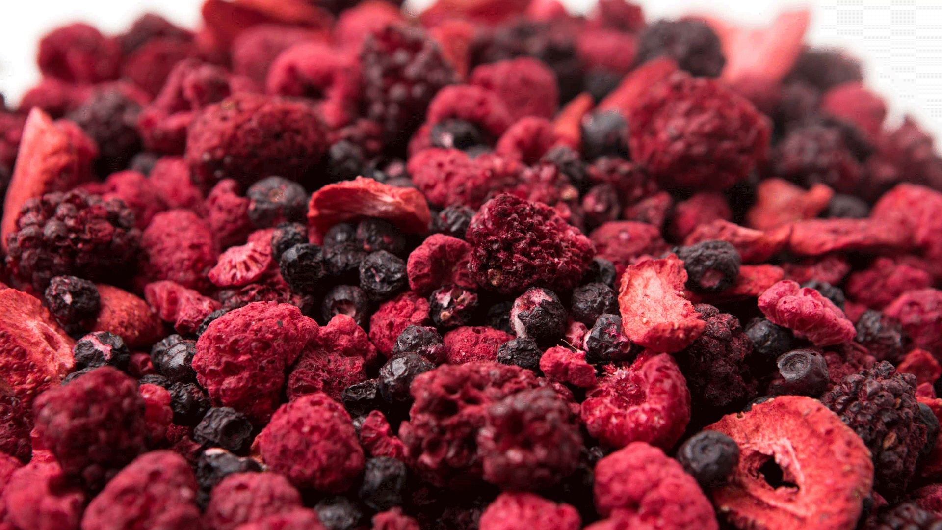 Freeze dried mixed fruit - strawberries, raspberries, blackberries and wild blueberries